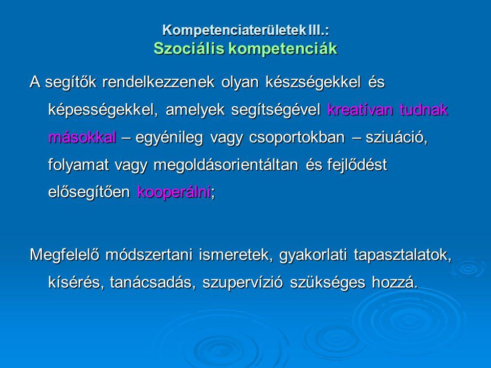 Kompetenciaterületek III.: Szociális kompetenciák A segítők rendelkezzenek olyan készségekkel és képességekkel, amelyek segítségével kreatívan tudnak