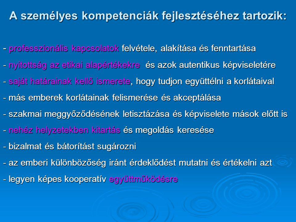 A személyes kompetenciák fejlesztéséhez tartozik: - professzionális kapcsolatok felvétele, alakítása és fenntartása - nyitottság az etikai alapértékek