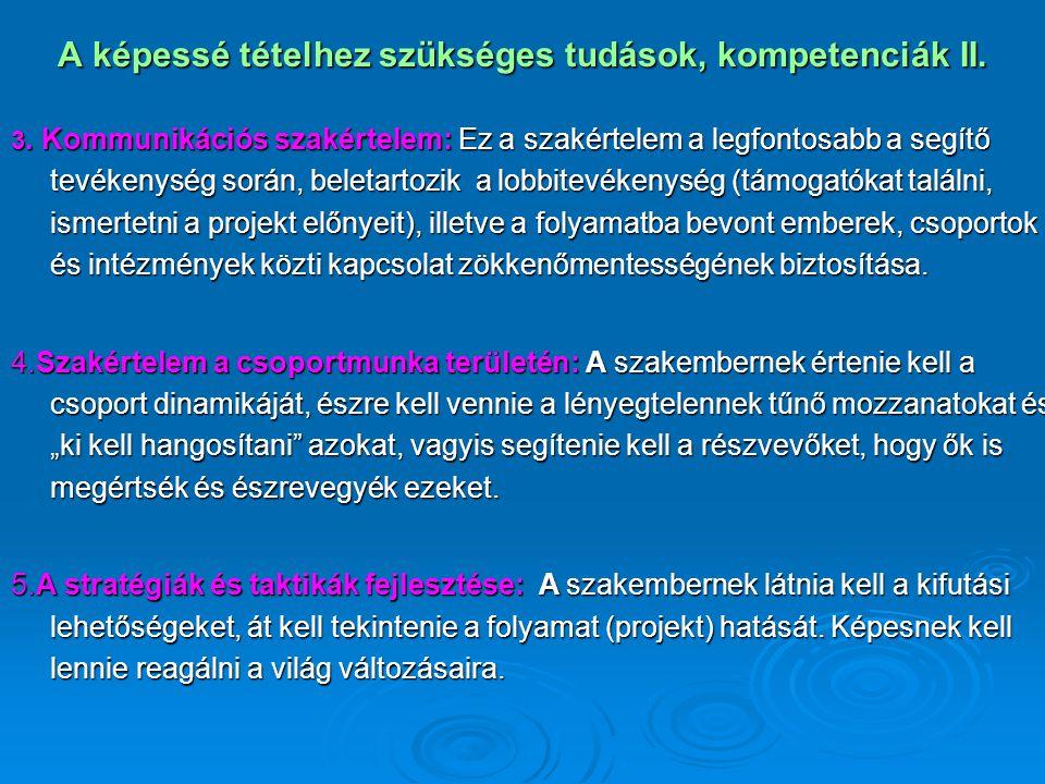 A képessé tételhez szükséges tudások, kompetenciák II. 3. Kommunikációs szakértelem: Ez a szakértelem a legfontosabb a segítő tevékenység során, belet