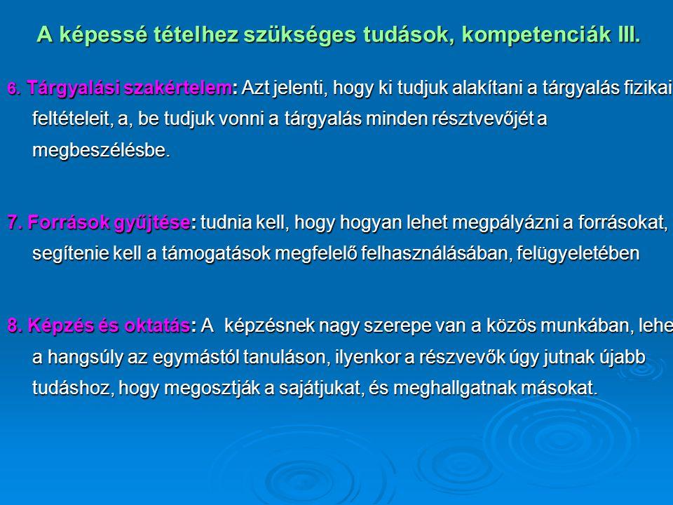 A képessé tételhez szükséges tudások, kompetenciák III. 6. Tárgyalási szakértelem: Azt jelenti, hogy ki tudjuk alakítani a tárgyalás fizikai feltétele