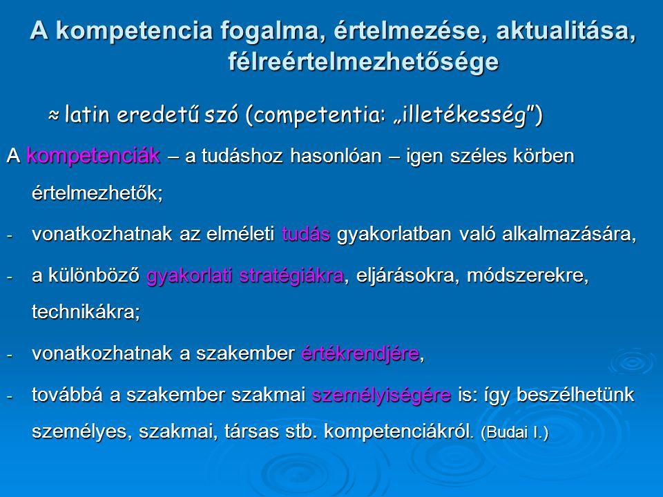 """A kompetencia fogalma, értelmezése, aktualitása, félreértelmezhetősége ≈ latin eredetű szó (competentia: """"illetékesség"""") ≈ latin eredetű szó (competen"""