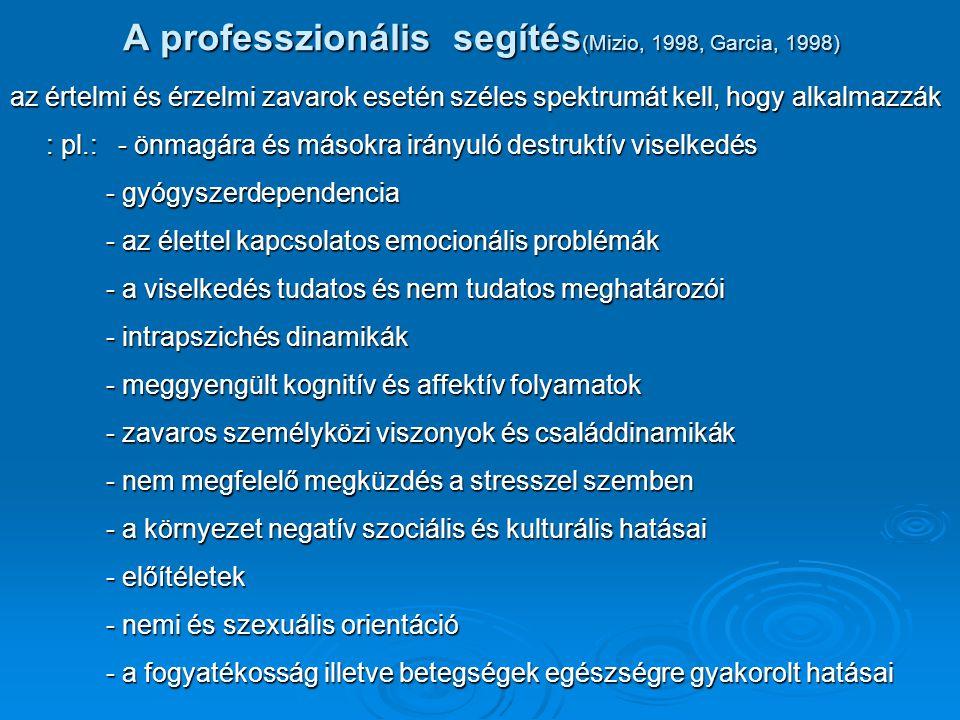 A professzionális segítés (Mizio, 1998, Garcia, 1998) az értelmi és érzelmi zavarok esetén széles spektrumát kell, hogy alkalmazzák : pl.: - önmagára