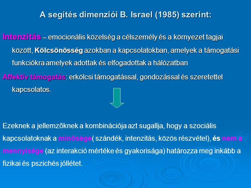 A segítés dimenziói B. Israel (1985) szerint: Intenzitás – emocionális közelség a célszemély és a környezet tagjai között, Kölcsönösség azokban a kapc