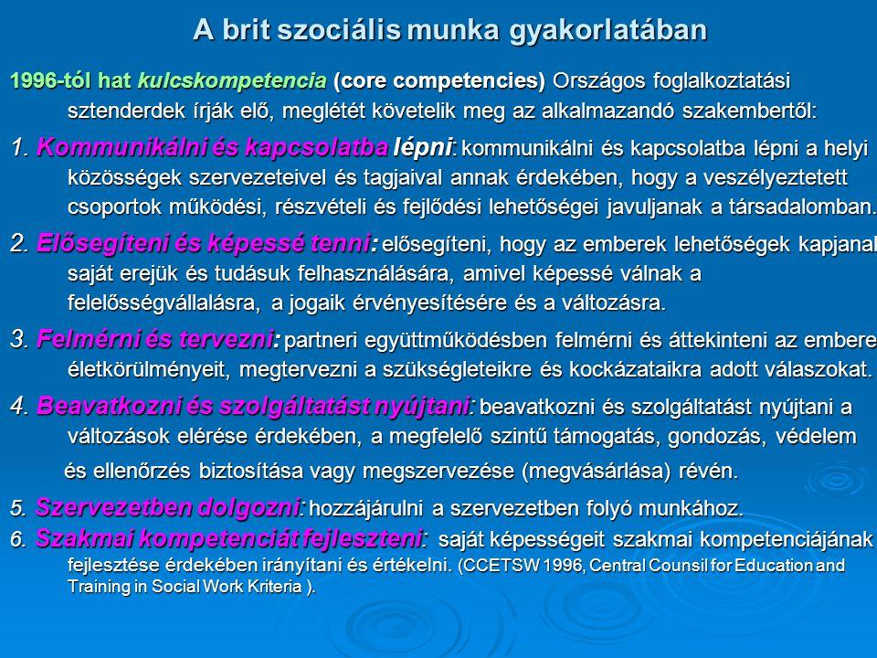 A brit szociális munka gyakorlatában 1996-tól hat kulcskompetencia (core competencies) Országos foglalkoztatási sztenderdek írják elő, meglétét követe