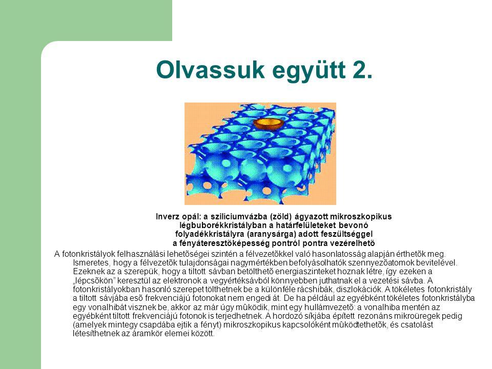 Olvassuk együtt 2. Inverz opál: a szilíciumvázba (zöld) ágyazott mikroszkopikus légbuborékkristályban a határfelületeket bevonó folyadékkristályra (ar