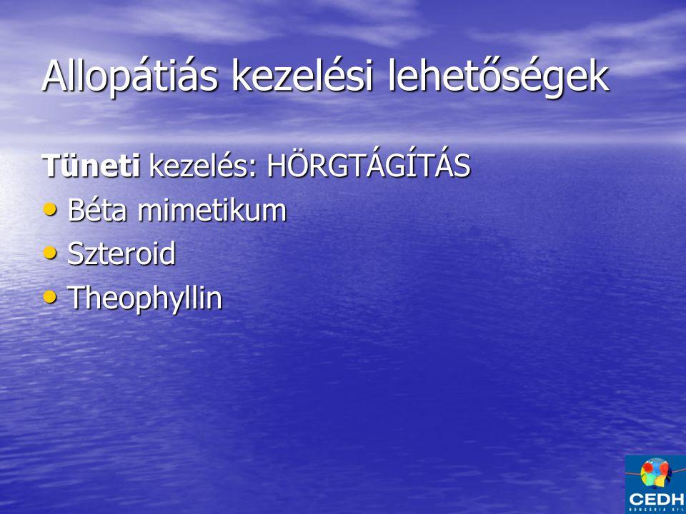 Allopátiás kezelési lehetőségek Tüneti kezelés: HÖRGTÁGÍTÁS Béta mimetikum Béta mimetikum Szteroid Szteroid Theophyllin Theophyllin