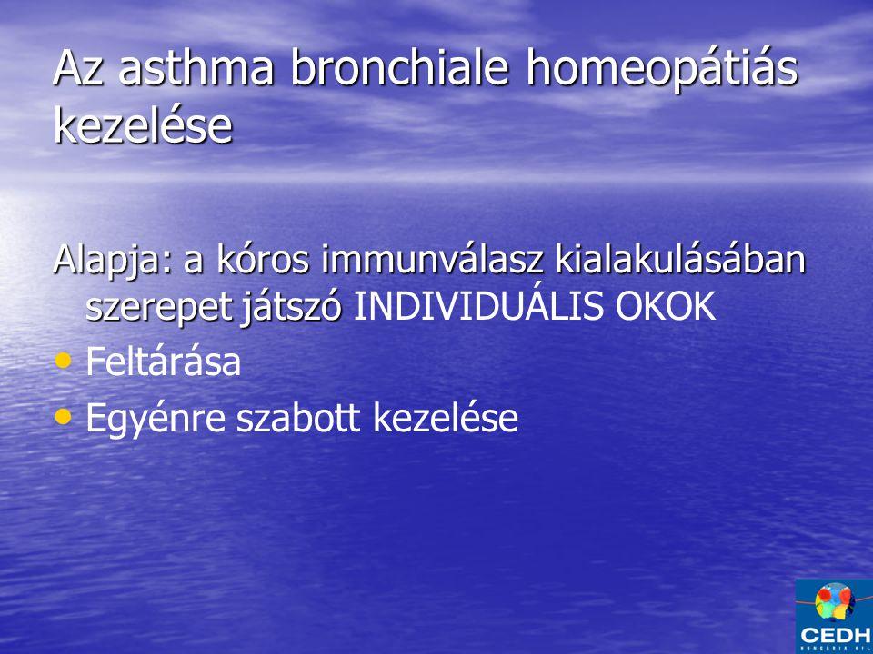 Az asthma bronchiale homeopátiás kezelése Alapja: a kóros immunválasz kialakulásában szerepet játszó Alapja: a kóros immunválasz kialakulásában szerepet játszó INDIVIDUÁLIS OKOK Feltárása Egyénre szabott kezelése