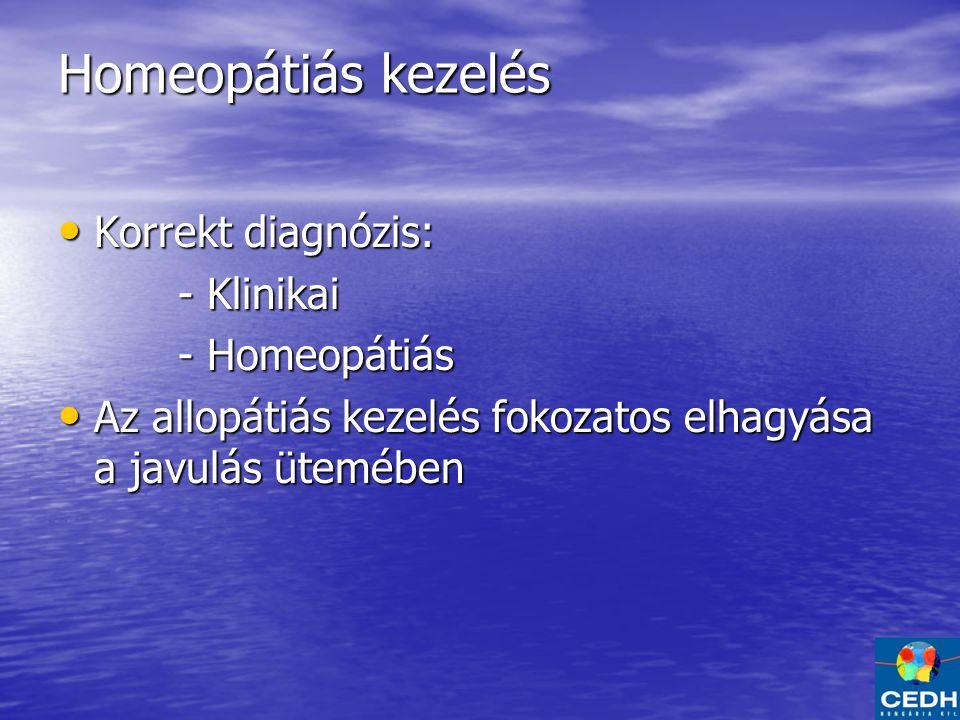 Homeopátiás kezelés Korrekt diagnózis: Korrekt diagnózis: - Klinikai - Klinikai - Homeopátiás - Homeopátiás Az allopátiás kezelés fokozatos elhagyása a javulás ütemében Az allopátiás kezelés fokozatos elhagyása a javulás ütemében