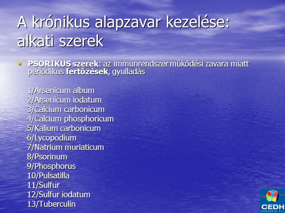 A krónikus alapzavar kezelése: alkati szerek PSORIKUS szerek: az immunrendszer működési zavara miatt periodikus fertőzések, gyulladás PSORIKUS szerek: az immunrendszer működési zavara miatt periodikus fertőzések, gyulladás 1/Arsenicum album 1/Arsenicum album 2/Arsenicum iodatum 2/Arsenicum iodatum 3/Calcium carbonicum 3/Calcium carbonicum 4/Calcium phosphoricum 4/Calcium phosphoricum 5/Kalium carbonicum 5/Kalium carbonicum 6/Lycopodium 6/Lycopodium 7/Natrium muriaticum 7/Natrium muriaticum 8/Psorinum 8/Psorinum 9/Phosphorus 9/Phosphorus 10/Pulsatilla 10/Pulsatilla 11/Sulfur 11/Sulfur 12/Sulfur iodatum 12/Sulfur iodatum 13/Tuberculin 13/Tuberculin