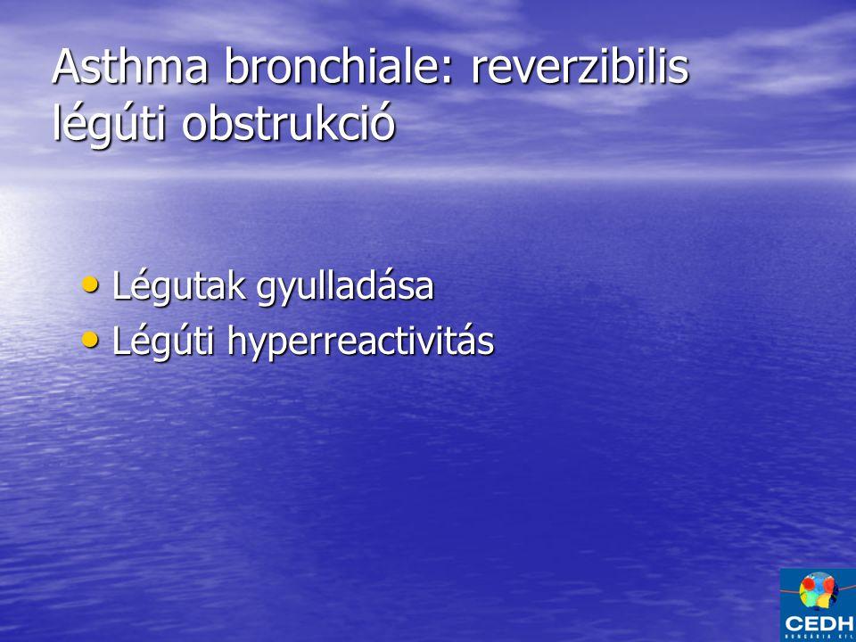 Asthma bronchiale: reverzibilis légúti obstrukció Légutak gyulladása Légutak gyulladása Légúti hyperreactivitás Légúti hyperreactivitás