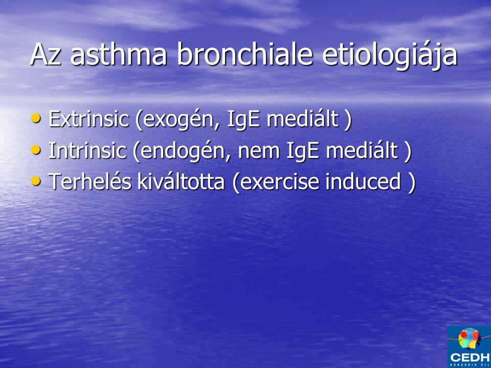 Az asthma bronchiale etiologiája Extrinsic (exogén, IgE mediált ) Extrinsic (exogén, IgE mediált ) Intrinsic (endogén, nem IgE mediált ) Intrinsic (endogén, nem IgE mediált ) Terhelés kiváltotta (exercise induced ) Terhelés kiváltotta (exercise induced )