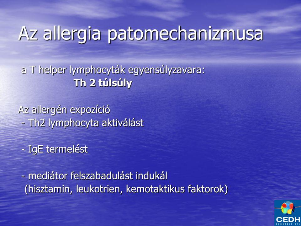 Az allergia patomechanizmusa a T helper lymphocyták egyensúlyzavara: a T helper lymphocyták egyensúlyzavara: Th 2 túlsúly Th 2 túlsúly Az allergén expozíció - Th2 lymphocyta aktiválást - Th2 lymphocyta aktiválást - IgE termelést - IgE termelést - mediátor felszabadulást indukál - mediátor felszabadulást indukál (hisztamin, leukotrien, kemotaktikus faktorok) (hisztamin, leukotrien, kemotaktikus faktorok)