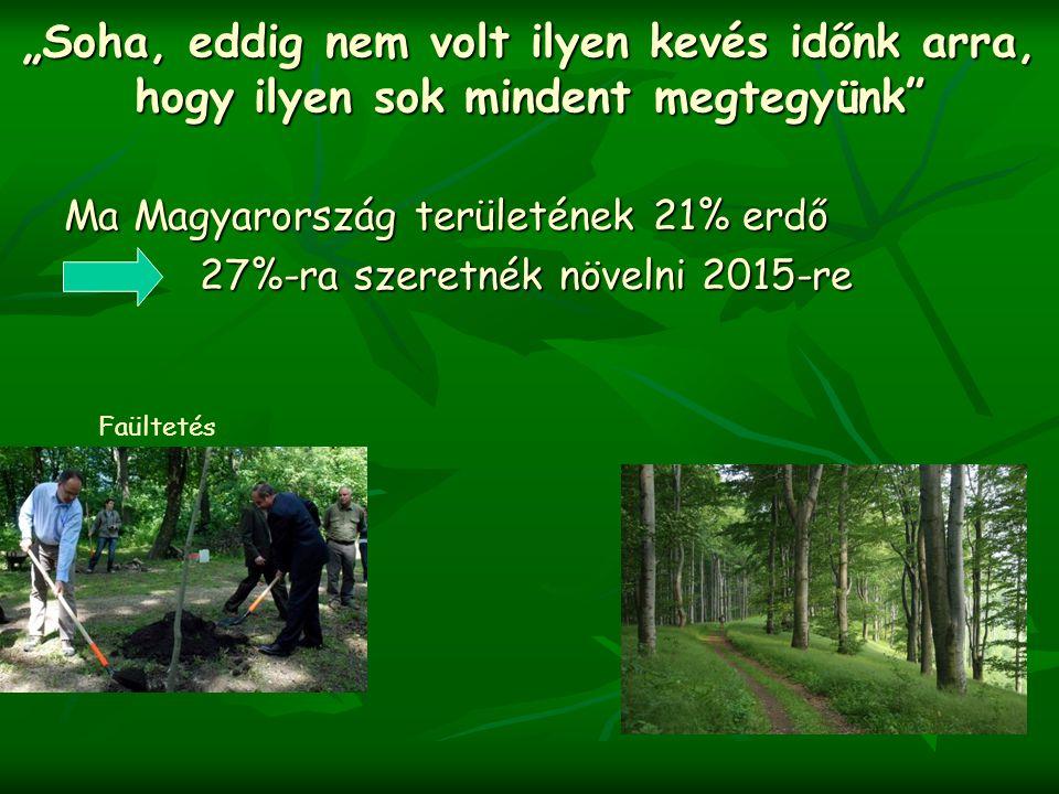 """"""" Soha, eddig nem volt ilyen kevés időnk arra, hogy ilyen sok mindent megtegyünk"""" Ma Magyarország területének 21% erdő 27%-ra szeretnék növelni 2015-r"""