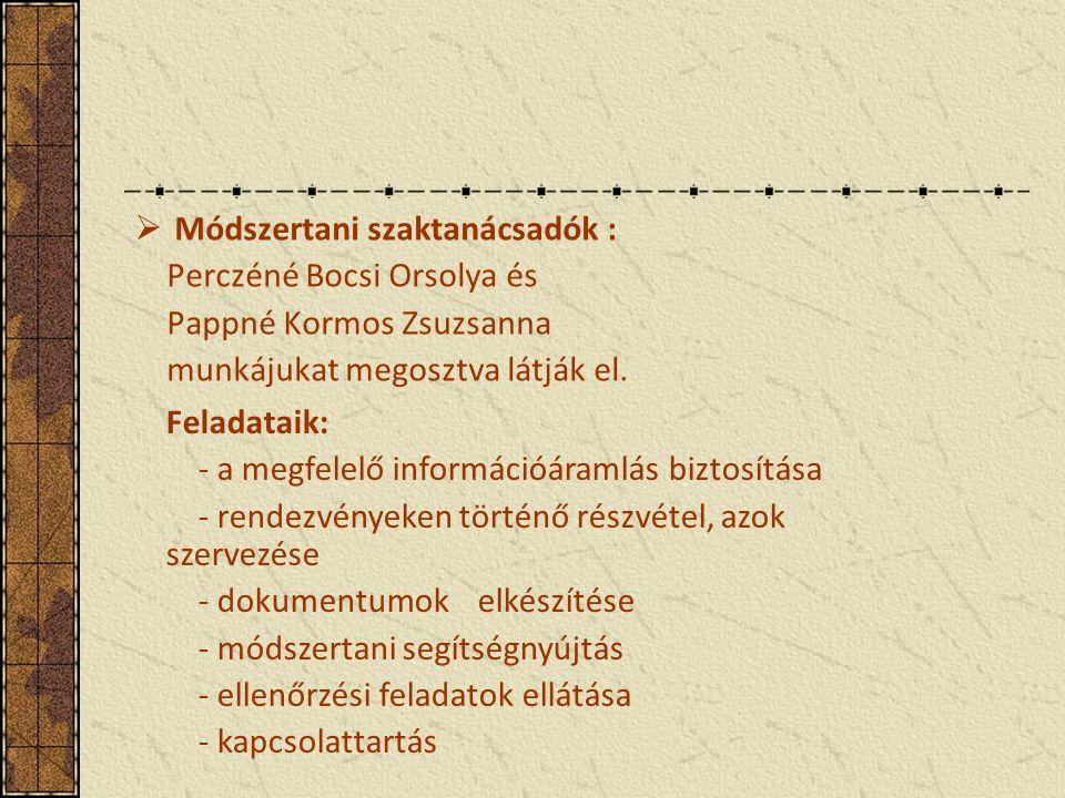  Módszertani szaktanácsadók : Perczéné Bocsi Orsolya és Pappné Kormos Zsuzsanna munkájukat megosztva látják el.