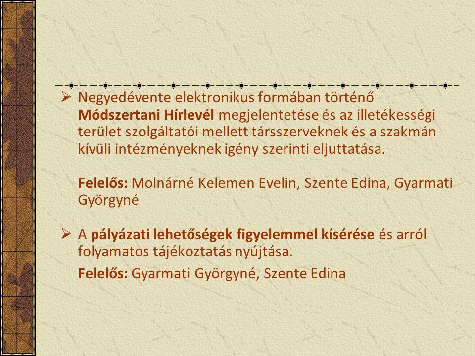  Negyedévente elektronikus formában történő Módszertani Hírlevél megjelentetése és az illetékességi terület szolgáltatói mellett társszerveknek és a szakmán kívüli intézményeknek igény szerinti eljuttatása.