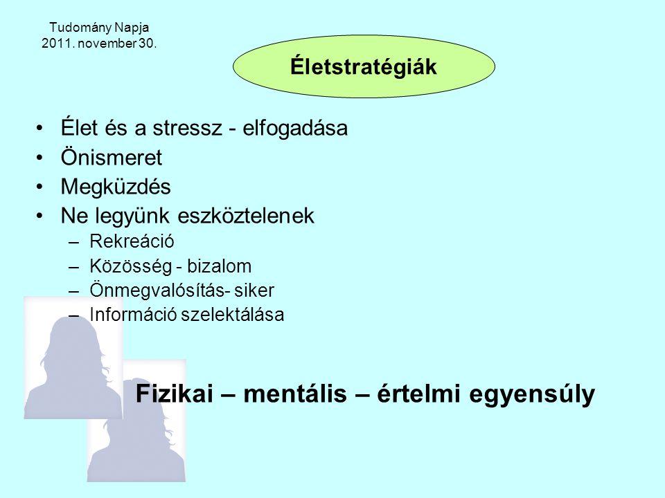 Tudomány Napja 2011. november 30. Élet és a stressz - elfogadása Önismeret Megküzdés Ne legyünk eszköztelenek –Rekreáció –Közösség - bizalom –Önmegval