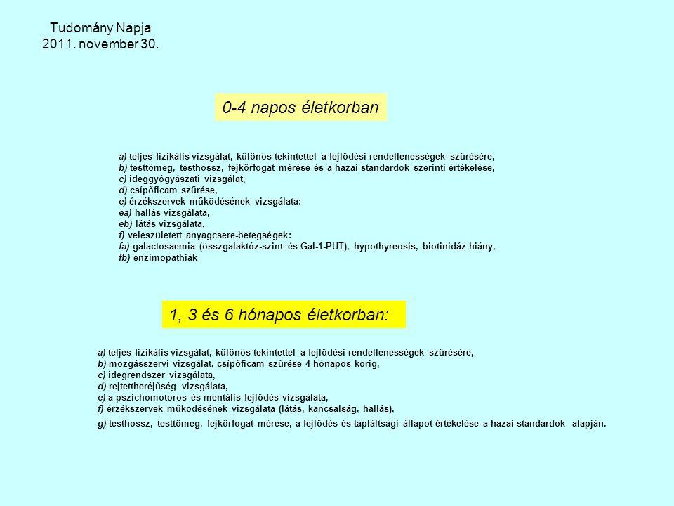 Tudomány Napja 2011. november 30. a) teljes fizikális vizsgálat, különös tekintettel a fejlődési rendellenességek szűrésére, b) testtömeg, testhossz,
