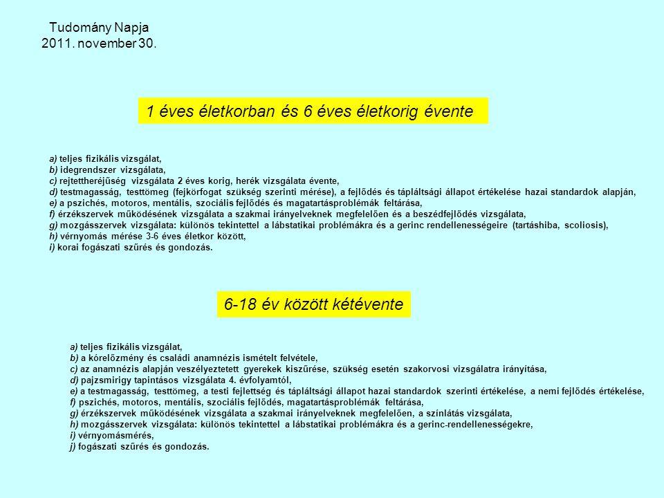 Tudomány Napja 2011. november 30. a) teljes fizikális vizsgálat, b) idegrendszer vizsgálata, c) rejtettheréjűség vizsgálata 2 éves korig, herék vizsgá