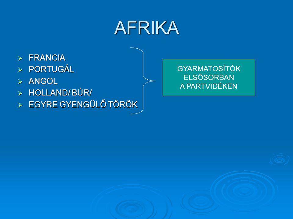 AFRIKA  FRANCIA  PORTUGÁL  ANGOL  HOLLAND/ BÚR/  EGYRE GYENGÜLŐ TÖRÖK GYARMATOSÍTÓK ELSŐSORBAN A PARTVIDÉKEN