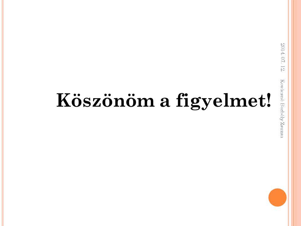 2014. 07. 12. Kovácsné Borbély Zsuzsa Köszönöm a figyelmet!
