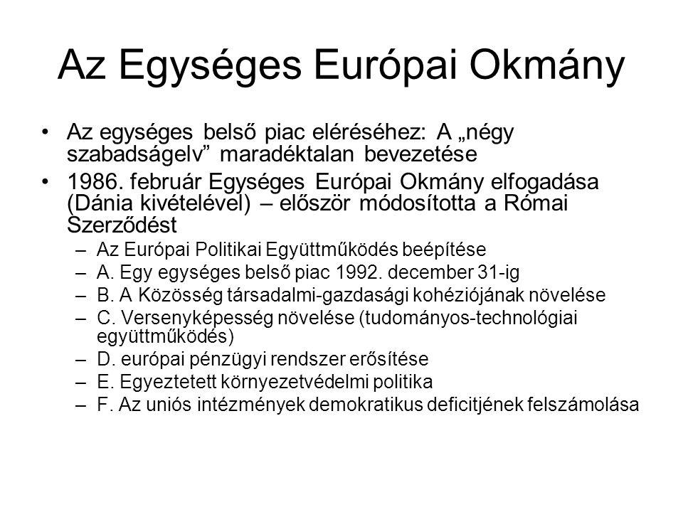 """Az Egységes Európai Okmány Az egységes belső piac eléréséhez: A """"négy szabadságelv maradéktalan bevezetése 1986."""