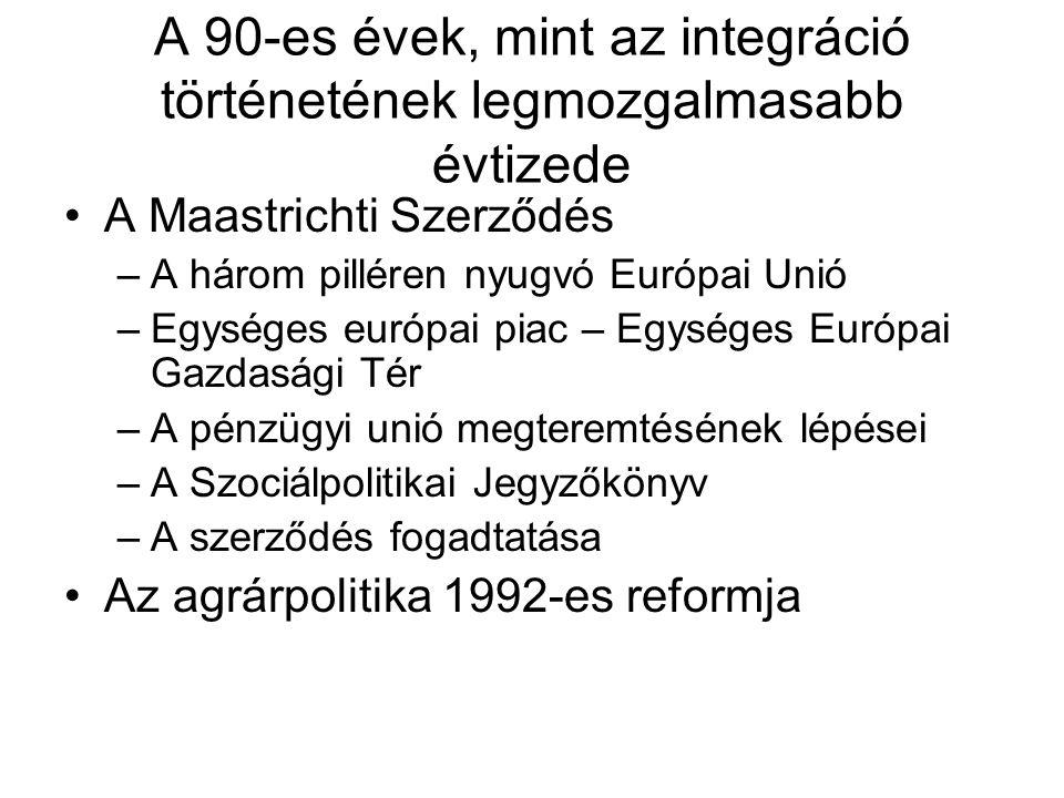 A 90-es évek, mint az integráció történetének legmozgalmasabb évtizede A Maastrichti Szerződés –A három pilléren nyugvó Európai Unió –Egységes európai piac – Egységes Európai Gazdasági Tér –A pénzügyi unió megteremtésének lépései –A Szociálpolitikai Jegyzőkönyv –A szerződés fogadtatása Az agrárpolitika 1992-es reformja