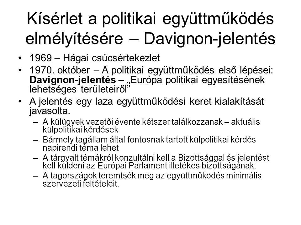 Kísérlet a politikai együttműködés elmélyítésére – Davignon-jelentés 1969 – Hágai csúcsértekezlet 1970.