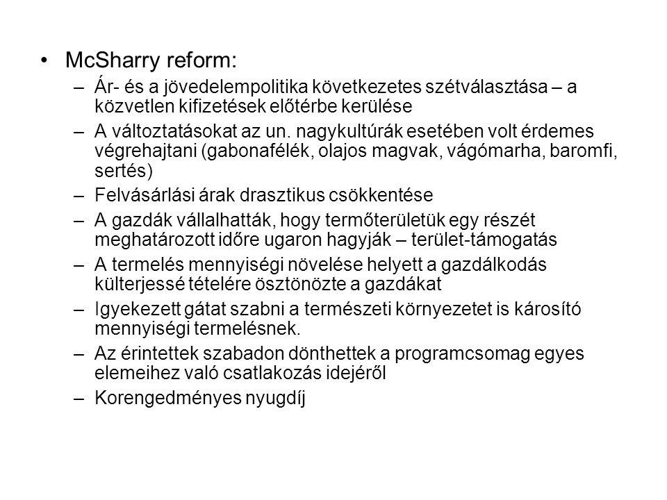McSharry reform: –Ár- és a jövedelempolitika következetes szétválasztása – a közvetlen kifizetések előtérbe kerülése –A változtatásokat az un.