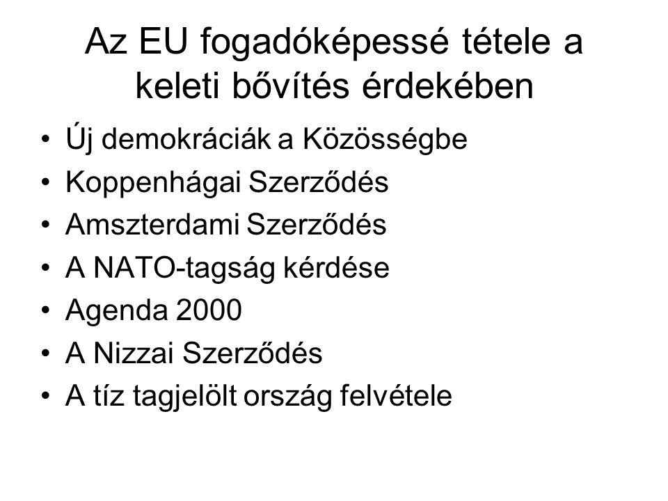 Az EU fogadóképessé tétele a keleti bővítés érdekében Új demokráciák a Közösségbe Koppenhágai Szerződés Amszterdami Szerződés A NATO-tagság kérdése Agenda 2000 A Nizzai Szerződés A tíz tagjelölt ország felvétele