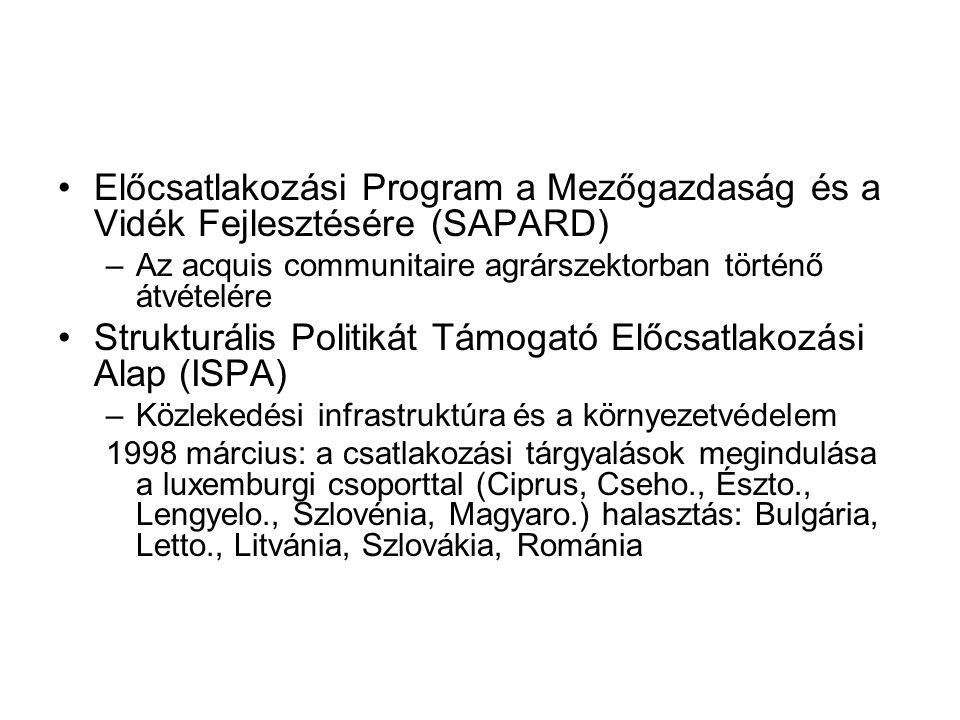 Előcsatlakozási Program a Mezőgazdaság és a Vidék Fejlesztésére (SAPARD) –Az acquis communitaire agrárszektorban történő átvételére Strukturális Politikát Támogató Előcsatlakozási Alap (ISPA) –Közlekedési infrastruktúra és a környezetvédelem 1998 március: a csatlakozási tárgyalások megindulása a luxemburgi csoporttal (Ciprus, Cseho., Észto., Lengyelo., Szlovénia, Magyaro.) halasztás: Bulgária, Letto., Litvánia, Szlovákia, Románia