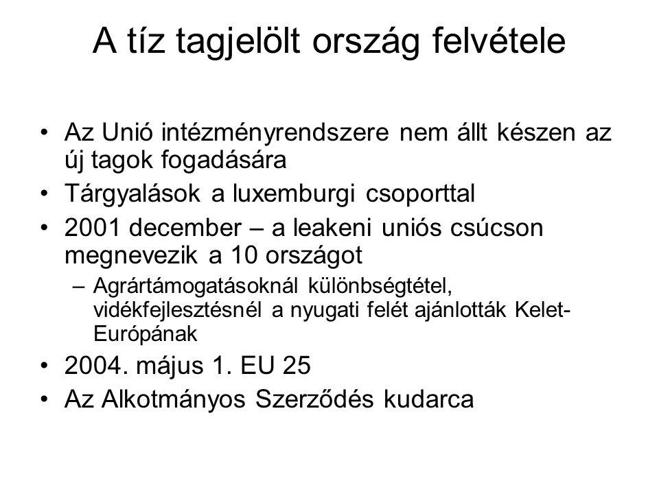 A tíz tagjelölt ország felvétele Az Unió intézményrendszere nem állt készen az új tagok fogadására Tárgyalások a luxemburgi csoporttal 2001 december – a leakeni uniós csúcson megnevezik a 10 országot –Agrártámogatásoknál különbségtétel, vidékfejlesztésnél a nyugati felét ajánlották Kelet- Európának 2004.