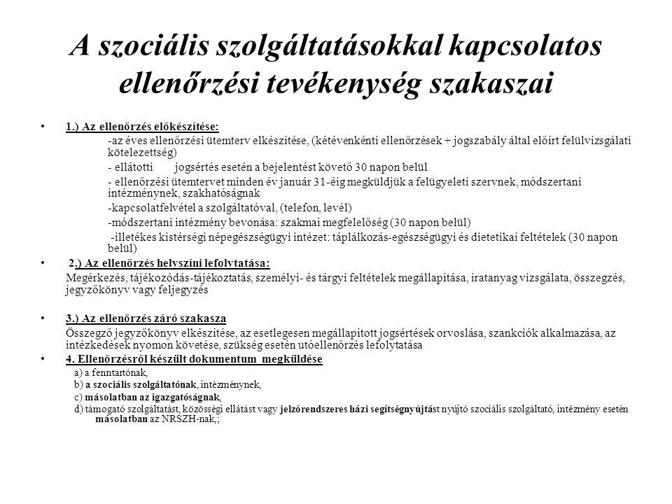 A szociális szolgáltatásokkal kapcsolatos ellenőrzési tevékenység szakaszai 1.) Az ellenőrzés előkészítése: -az éves ellenőrzési ütemterv elkészítése,