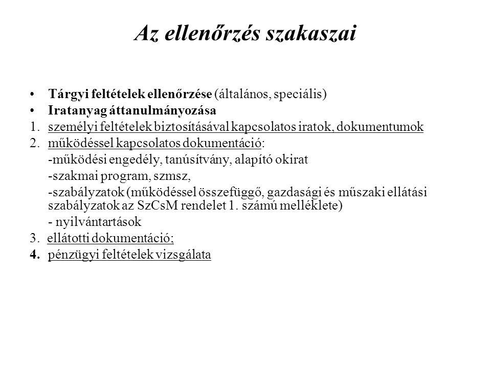 Az ellenőrzés szakaszai Tárgyi feltételek ellenőrzése (általános, speciális) Iratanyag áttanulmányozása 1.személyi feltételek biztosításával kapcsolat