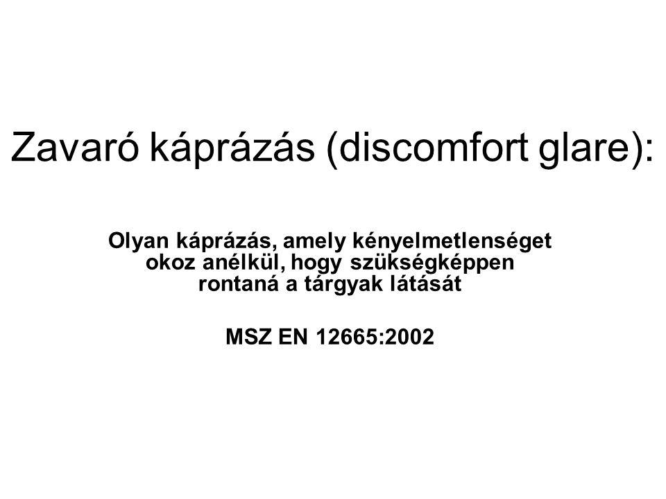 Zavaró káprázás (discomfort glare): Olyan káprázás, amely kényelmetlenséget okoz anélkül, hogy szükségképpen rontaná a tárgyak látását MSZ EN 12665:20