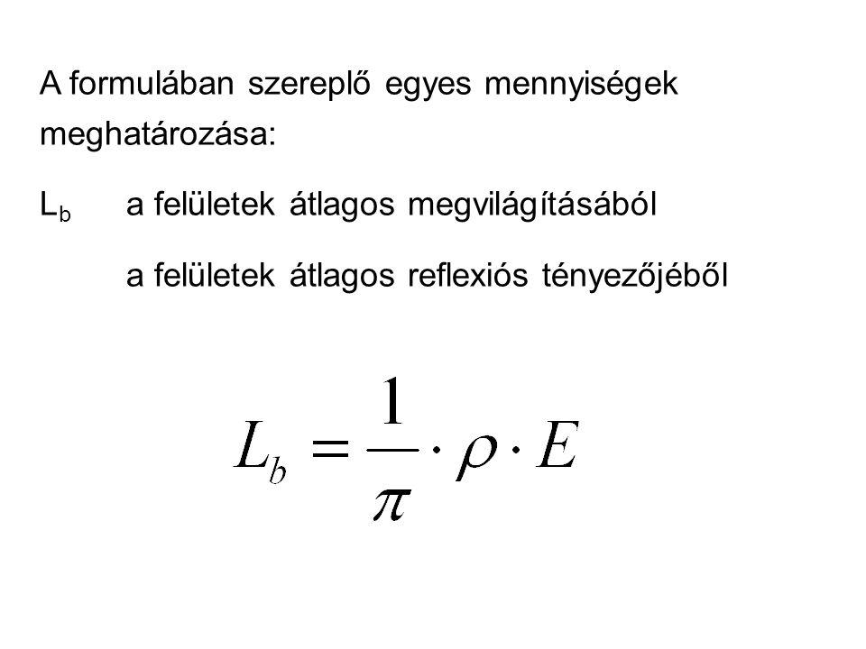 A formulában szereplő egyes mennyiségek meghatározása: L b a felületek átlagos megvilágításából a felületek átlagos reflexiós tényezőjéből