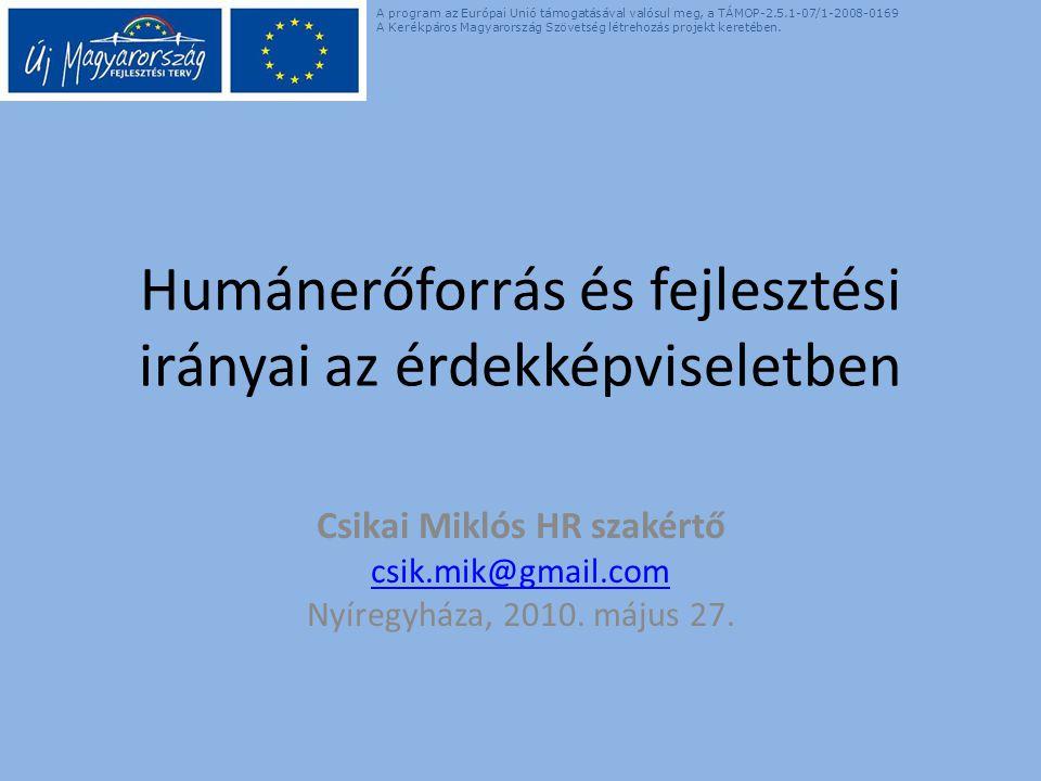 Humánerőforrás és fejlesztési irányai az érdekképviseletben Csikai Miklós HR szakértő csik.mik@gmail.com Nyíregyháza, 2010.