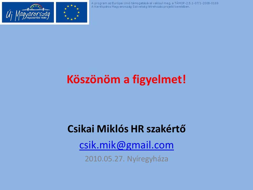 Köszönöm a figyelmet. Csikai Miklós HR szakértő csik.mik@gmail.com 2010.05.27.