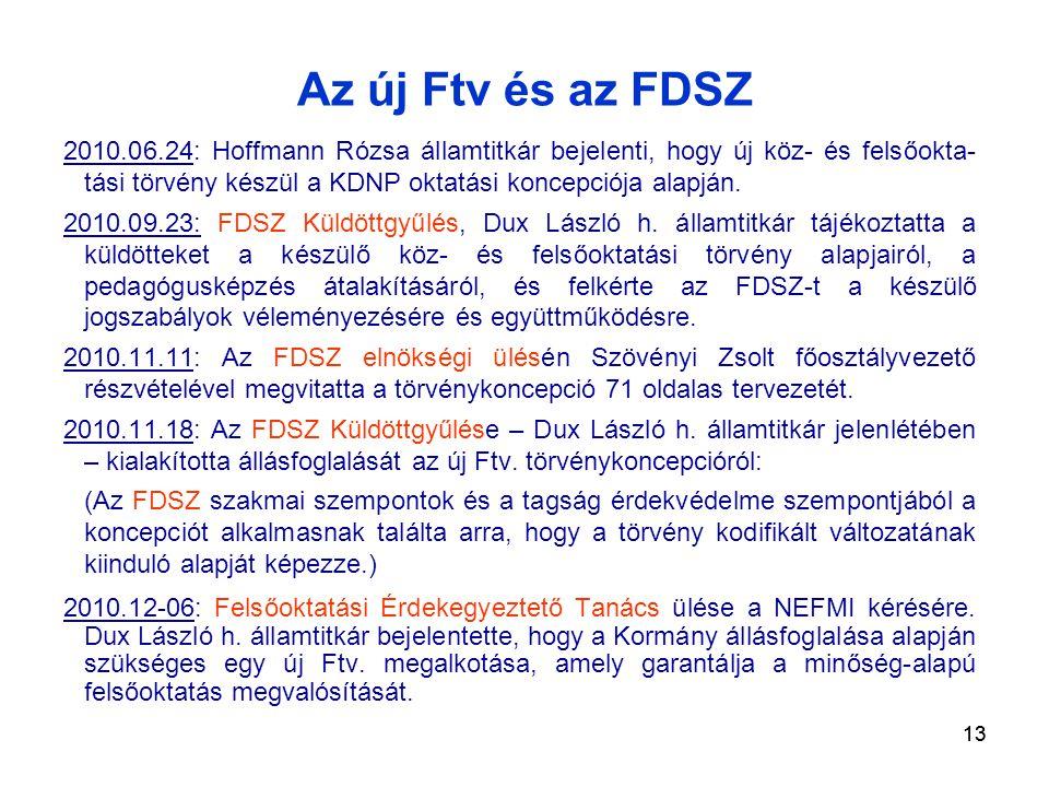 13 Az új Ftv és az FDSZ 2010.06.24: Hoffmann Rózsa államtitkár bejelenti, hogy új köz- és felsőokta- tási törvény készül a KDNP oktatási koncepciója alapján.