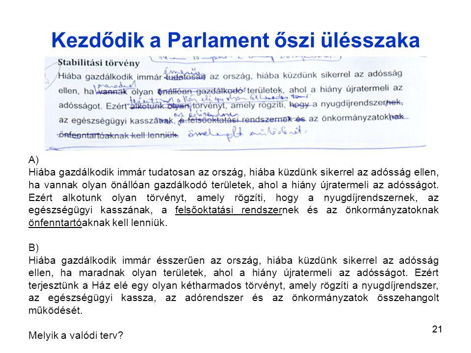 21 Kezdődik a Parlament őszi ülésszaka A) Hiába gazdálkodik immár tudatosan az ország, hiába küzdünk sikerrel az adósság ellen, ha vannak olyan önállóan gazdálkodó területek, ahol a hiány újratermeli az adósságot.