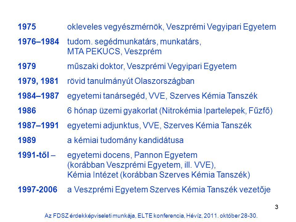 3 1975 okleveles vegyészmérnök, Veszprémi Vegyipari Egyetem 1976–1984 tudom.