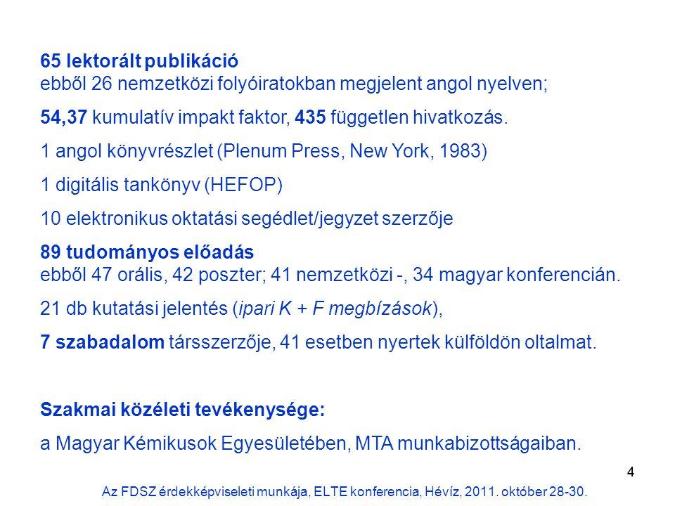 4 65 lektorált publikáció ebből 26 nemzetközi folyóiratokban megjelent angol nyelven; 54,37 kumulatív impakt faktor, 435 független hivatkozás.