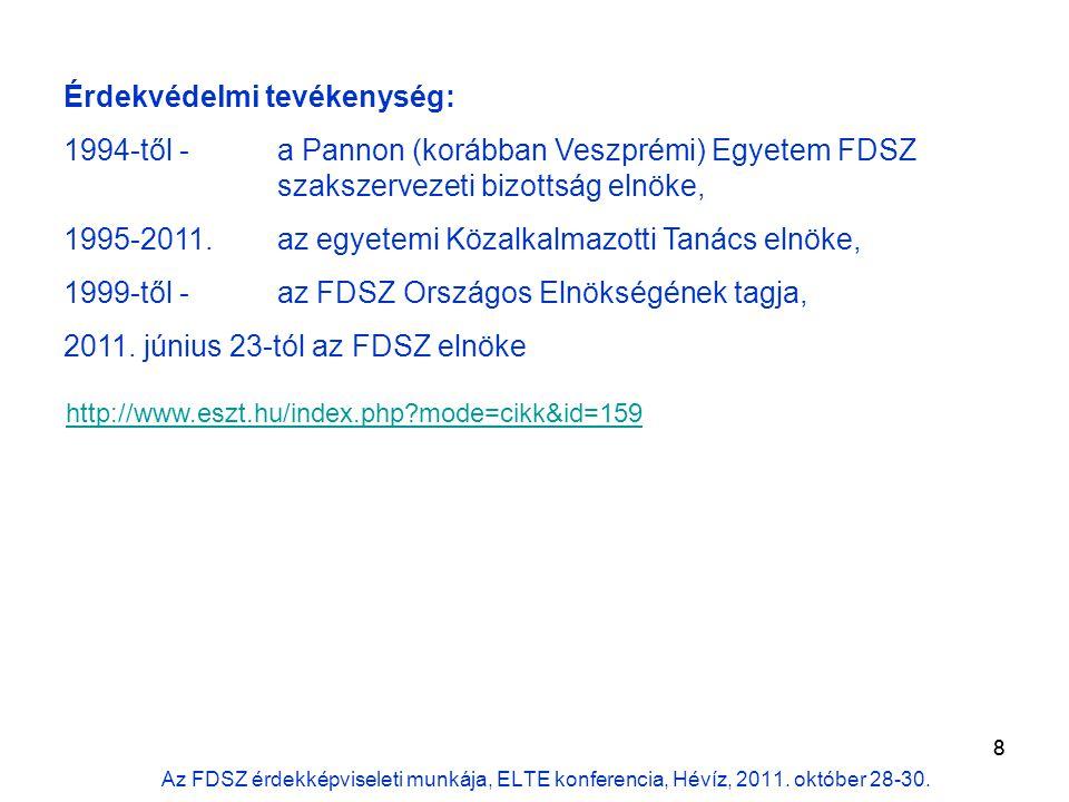 9 Átadás-átvétel az irodában (mérleg, pénzügyek, leltár, alkalmazottak, szerződések, stb.) Képviselet (bejegyzés a Bíróságon), aláírás, utalványozás Veszprém – Budapest távolság áthidalása, kommunikáció Munkamegosztás (alelnökök, tiszteletbeli elnök – nyáron is többször találkoztunk) Kapcsolatfelvétel: szakszervezeti (ÉSZT, SZEF; PSZ, PDSZ) vezetőkkel rektorokkal, FTT- és MAB elnökkel kormányzati (NEFMI, KIM) vezetőkkel parlamenti bizottság (OTB, Pokorni Zoltán) A küldöttgyűlés óta …