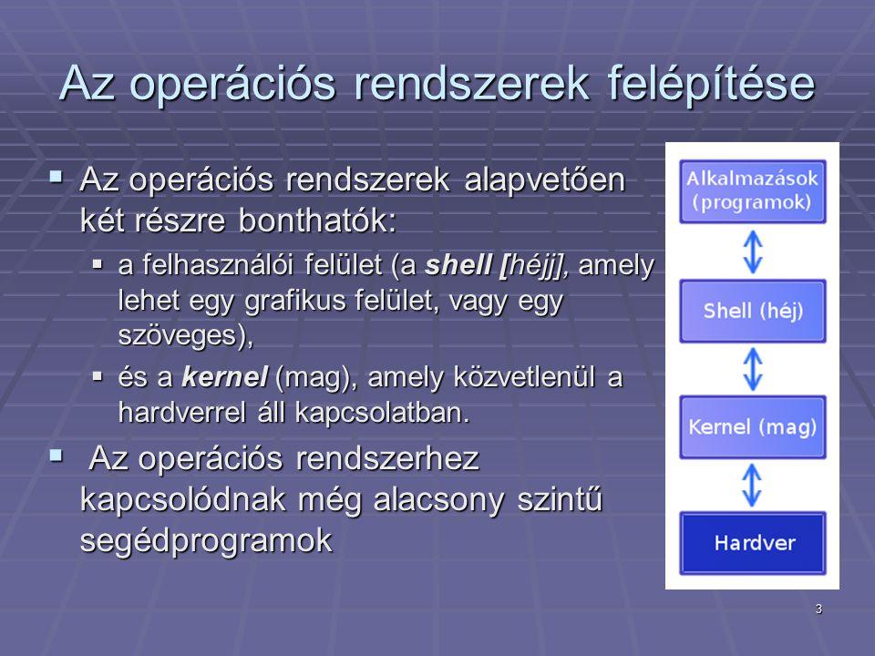 3 Az operációs rendszerek felépítése  Az operációs rendszerek alapvetően két részre bonthatók:  a felhasználói felület (a shell [héjj], amely lehet