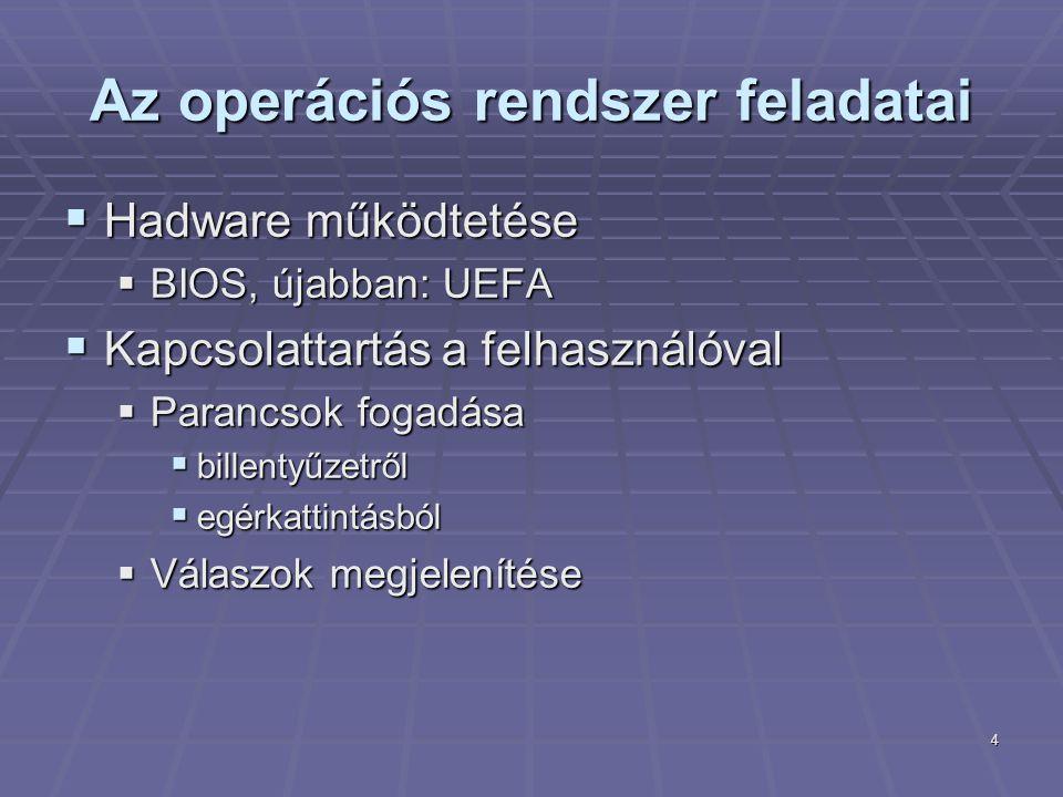 4 Az operációs rendszer feladatai  Hadware működtetése  BIOS, újabban: UEFA  Kapcsolattartás a felhasználóval  Parancsok fogadása  billentyűzetrő