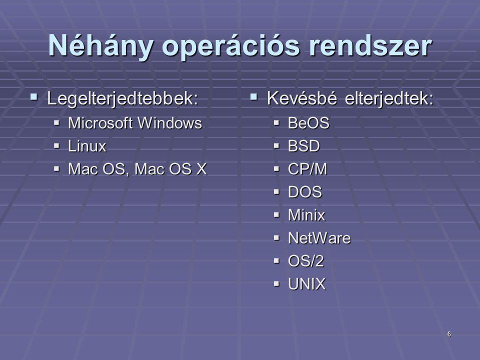 6 Néhány operációs rendszer  Legelterjedtebbek:  Microsoft Windows  Linux  Mac OS, Mac OS X  Kevésbé elterjedtek:  BeOS  BSD  CP/M  DOS  Min