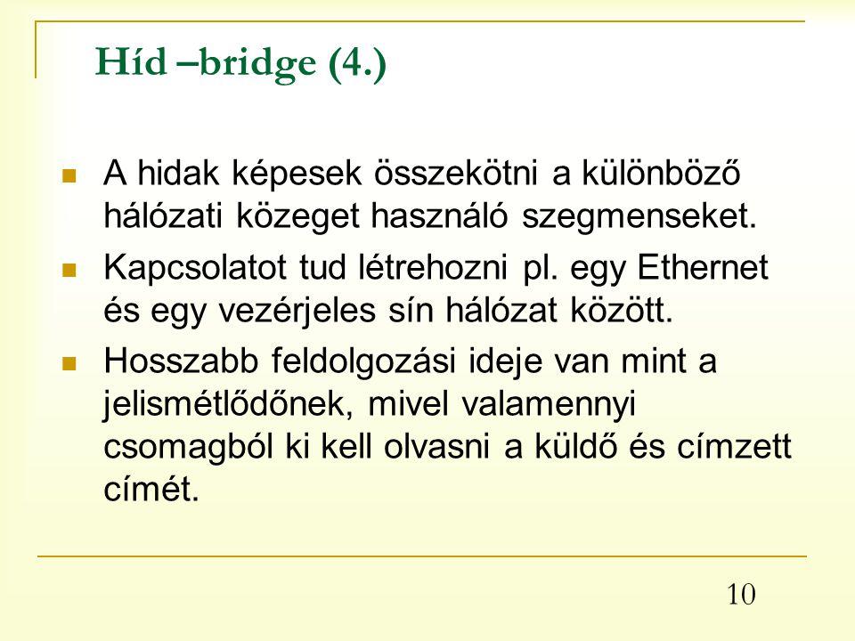 10 Híd –bridge (4.) A hidak képesek összekötni a különböző hálózati közeget használó szegmenseket.