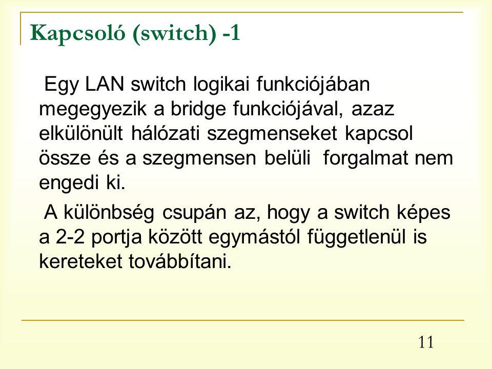 11 Kapcsoló (switch) -1 Egy LAN switch logikai funkciójában megegyezik a bridge funkciójával, azaz elkülönült hálózati szegmenseket kapcsol össze és a szegmensen belüli forgalmat nem engedi ki.