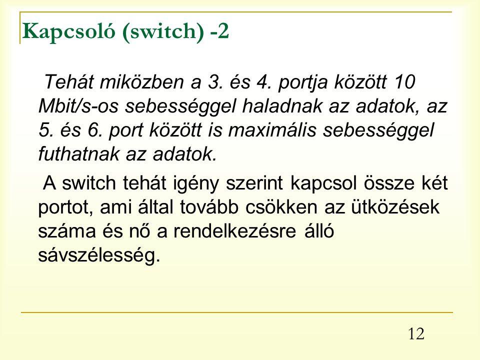 12 Kapcsoló (switch) -2 Tehát miközben a 3.és 4.