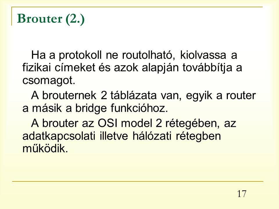 17 Brouter (2.) Ha a protokoll ne routolható, kiolvassa a fizikai címeket és azok alapján továbbítja a csomagot.