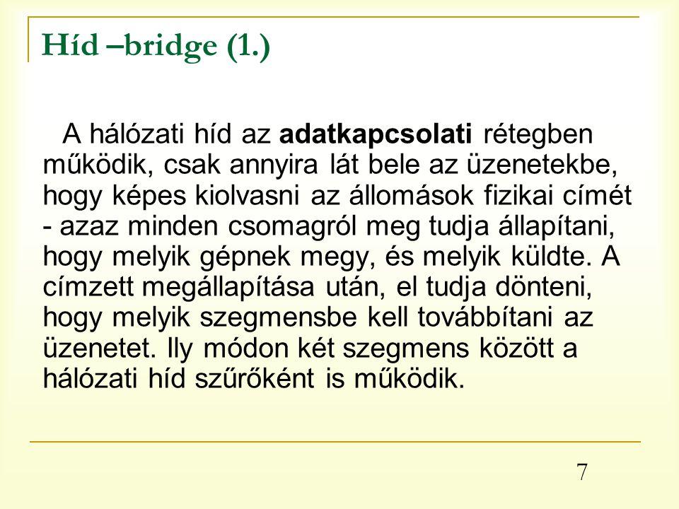 7 Híd –bridge (1.) A hálózati híd az adatkapcsolati rétegben működik, csak annyira lát bele az üzenetekbe, hogy képes kiolvasni az állomások fizikai címét - azaz minden csomagról meg tudja állapítani, hogy melyik gépnek megy, és melyik küldte.